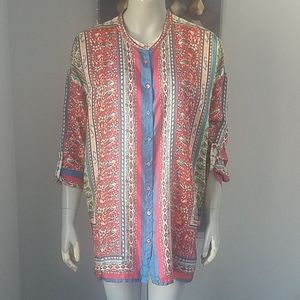 Johnny Was Boho Patterned Silk Button Down Blouse